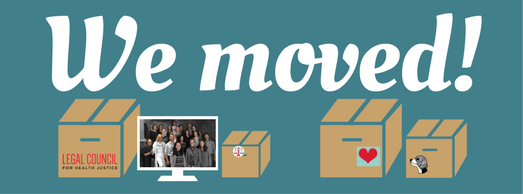 """We moved!"" in white text on teal background. Below text are 4 brown boxes and a white computer screen"