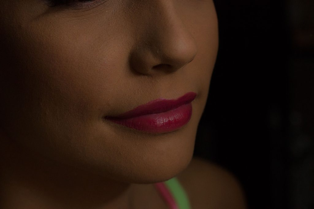 closeup of woman with red lipstick