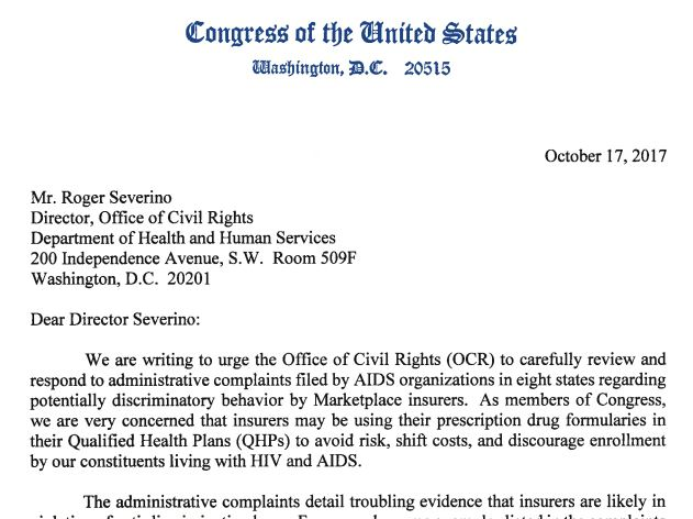 Image of letter sent to DHHS